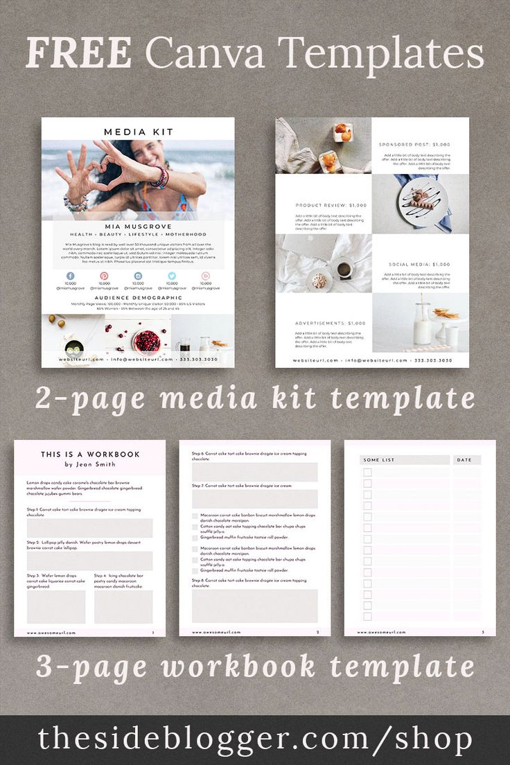Free Canva Bundle The Side Blogger Workbook Template Media Kit Template Free Media Kit Free blogger template for teachers