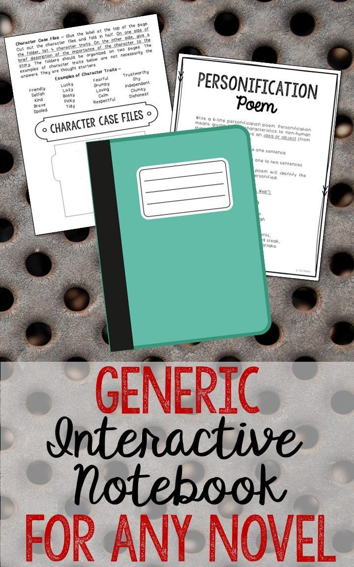 Blank Generic Interactive Notebook for Any Novel! Low Prep and Stress-Free Interactive Notebook. This novel unit includes vocabulary terms, poetry, author biography research, themes, character traits, one-sentence chapter summaries, and note taking activities. A great variety of activities to keep your students engaged! This is a complete unit, but can be added to the materials you already have on hand. I use this INSTEAD of multiple choice comprehension tests!