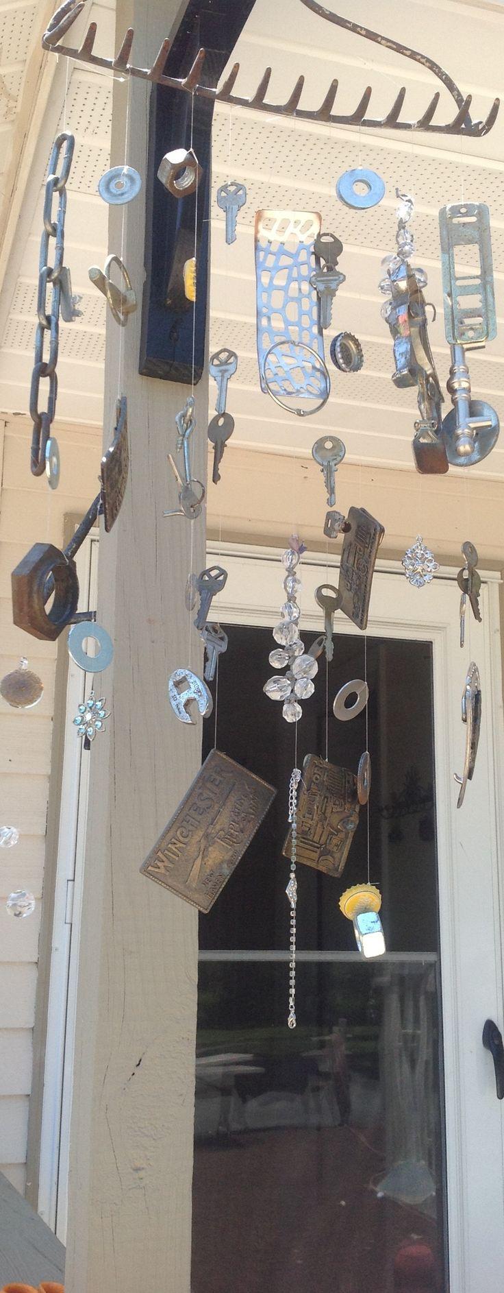 Metal windchimes.  DIY. Homemade.  Junk in the garage.  Sounds great