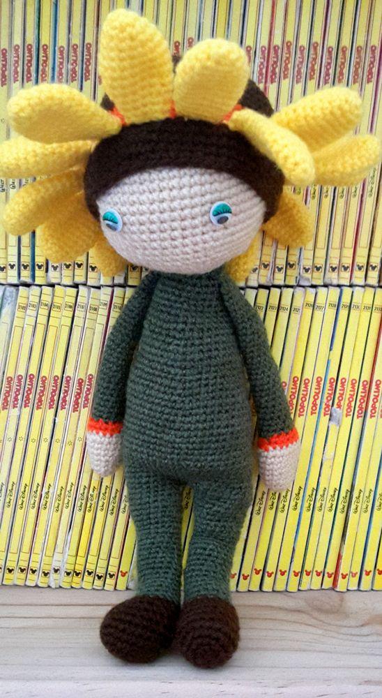 Girasole Sam bambola fiore fatto a mano da Rosy R - Istruzioni per uncinetto by Zabbez
