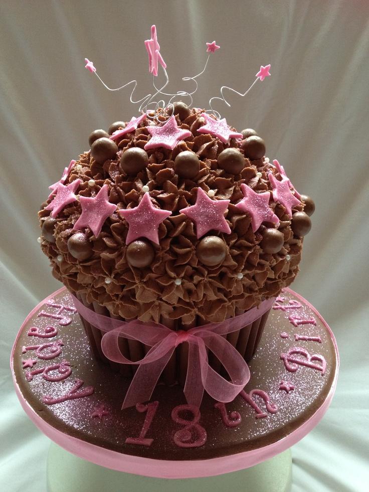 Giant chocolat cupcake with caramel centre.