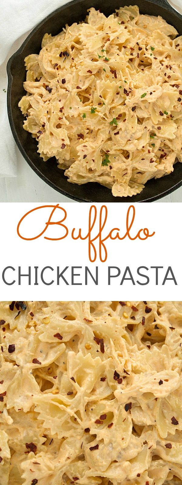 An incredible buffalo chicken pasta recipe – perfect for the games! Also is perfect anytime of the year!