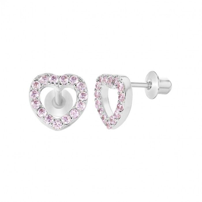 Children's Earrings:  Sterling Silver Pink Pave Set CZ Open Hearts with Screw Backs.  From a huge range of baby and children's screw back earrings at Baby Jewels.