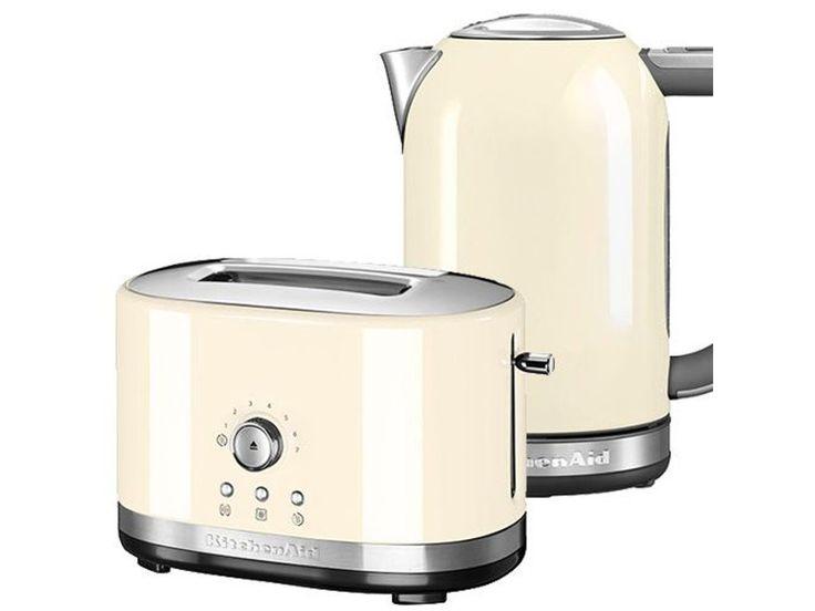 Kitchenaid Almond Cream 2 Slot Manual Toaster And 1 7l Kettle Set