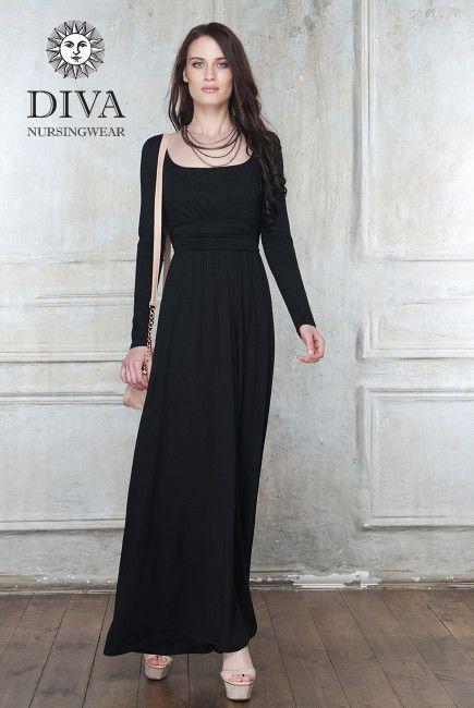 494ab0f0cbcb4 Diva Milano Maternity and Nursing Dress Stella Maxi, Nero | dresses ...