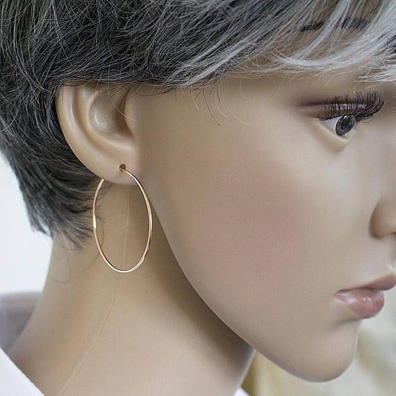40mm Rose Gold Hoop Earrings Large Hoops Handmade
