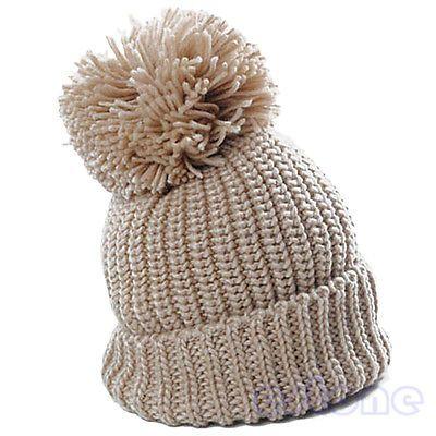 Women's Winter Slouch Knit Ski Cap Oversized Cuffed Beanie Crochet Bobble Hat