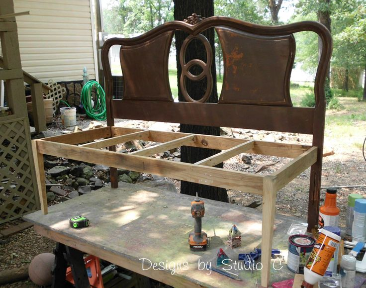 How to Build a Bench Using an Old Headboard 6