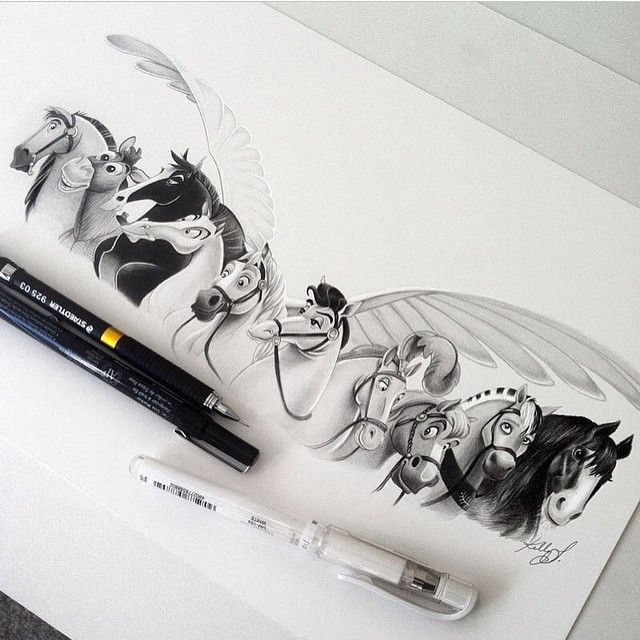 """Which is your favorite disney horse? ❤️ Amazingly done by @kellylahar  #disneyarts Kik Us for sfs"""