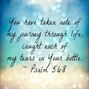 You have taken note of my journey through life, caught each of my tears in Your bottle. ~Psalm 56:8