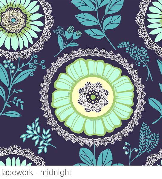 Amy Butler's  MIDNIGHT LACEWORK: Butler Wallpapers, Lacework Wallpapers, Brown Wallpaper, Green Wallpaper, Guest Rooms, Powder Rooms, Amy Butler, Wallpapers Design, Accent Wall