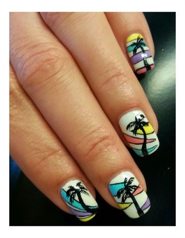 20 best images about nails with palms nail art on pinterest nail art tropical and nail nail - Deco nail art ...