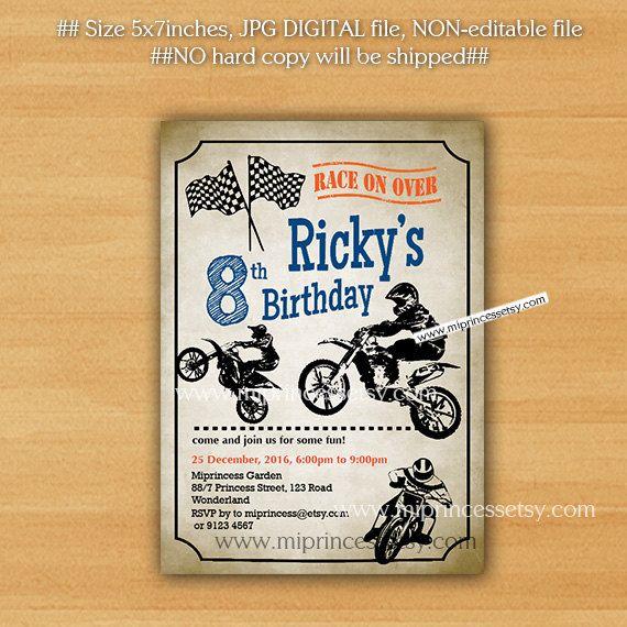 79 best kids party images on pinterest birthday invitations kid dirt bike invitation motocross birthday invitation for any age boy biker dirt bike filmwisefo Gallery