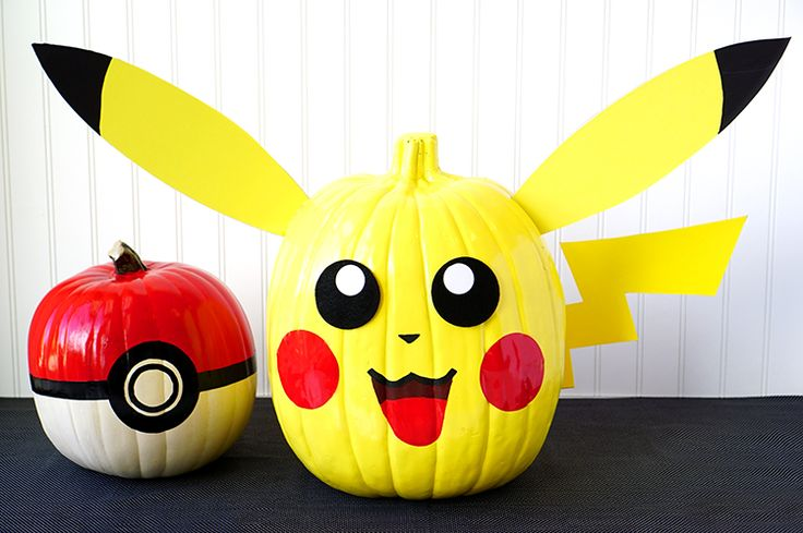 Bring your favorite gaming characters to life this Halloween with these fun painted Pokemon Pumpkins with Pikachu and Pokeball designs!