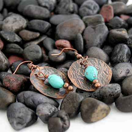 Hammered Copper Earrings with Turquoise Beads | Pretty Patina