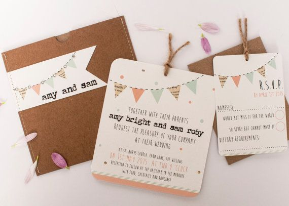 Wedding invitation - pastel bunting mint peach rustic