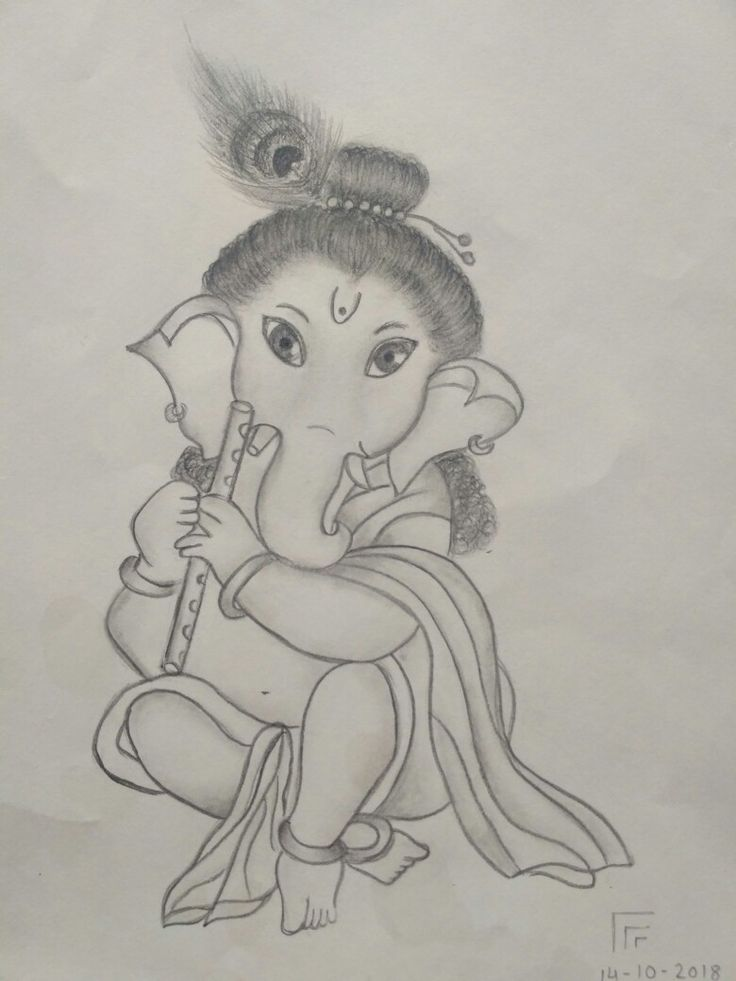 Cute drawing of ganesha | ganpati drawing in 2019 ...