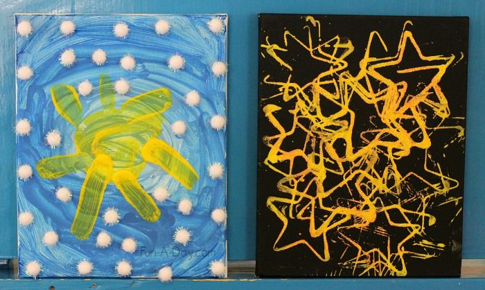 Daytime sky and nighttime sky art for preschoolers - a great way to extend knowledge about the differences between night and day!