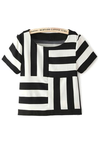Unique Contrast Striped Tee - OASAP.com