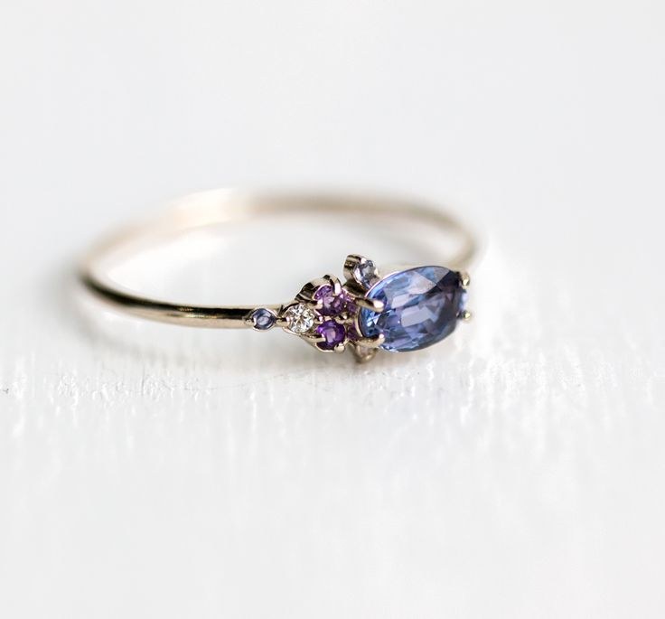 $680 Klick for more! For Dreamers Ring, Sapphire, Iolite, Amethyst and Diamonds Cluster Ring in 14k White Gold