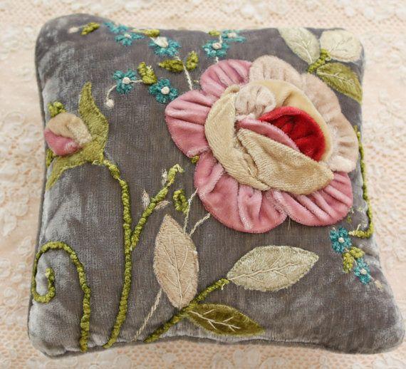 Antique Silk Velvet Ribbon Flowers Boudoir by TheFrenchLaundry, $125.00