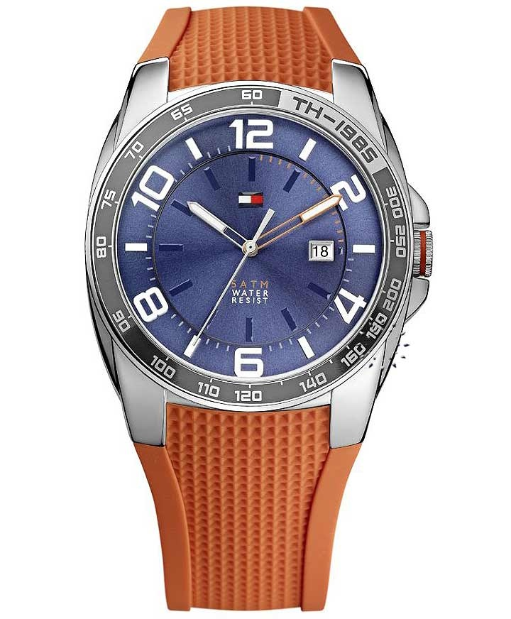 Tommy Hilfiger Blue Dial Orange Rubber Strap Τιμή: 119€ http://www.oroloi.gr/product_info.php?products_id=32396