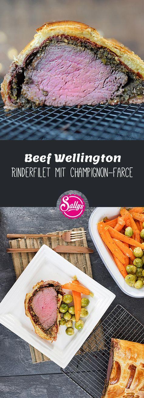 Ein festlicher Hauptgang ist dieses Beef Wellington Rezept. Ein zartes Rinderfilet mit Champignons und Rinderschinken im Teigmantel aus Plunderteig.