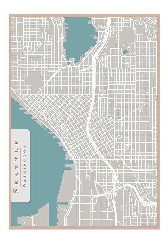 Seattle street map print