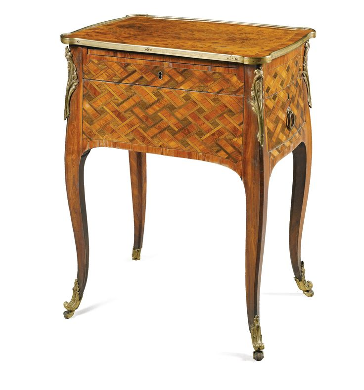 A George III Padouk And Kingwood Parquetry Ladyu0027s Writing Table With  Gilt Brass Mounts Circa In The Manner Of Pierre Langlois