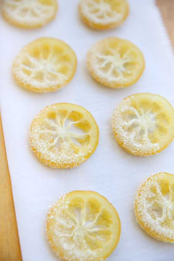 candied lemon slices Our Best Bites --- beautiful garnish for lemon meringue pie!