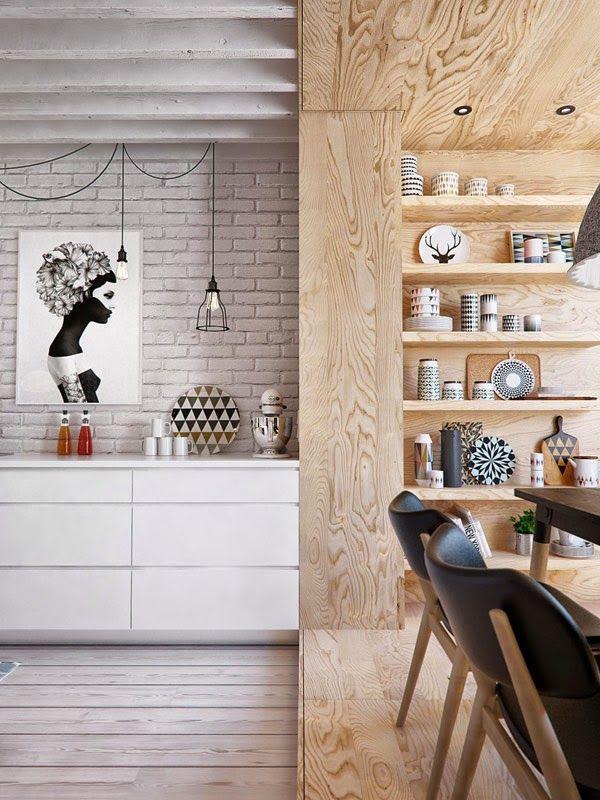 design contemporâneo e revestimento de madeira compensada