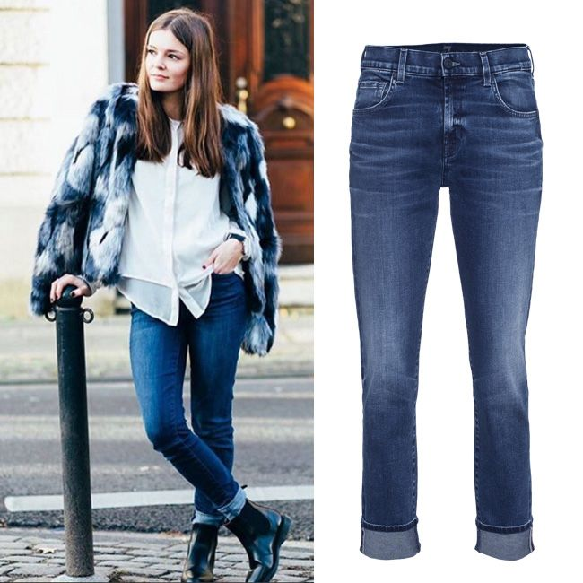 У нас нет точно таких джинсов 7 For All Mankind как на этой блогерине из Швейцарии, но есть похожие, тоже Севен, из мягкого денима, с тонко продуманными потертостями в изысканной голубой варке. Если честно, они нам нравятся больше. Теперь они еще и со скидкой 50%.