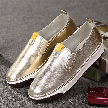 Women Shoes Casual Outdoor Slip On Round Toe Leather Comfortable Flats Loafers - US$36.98