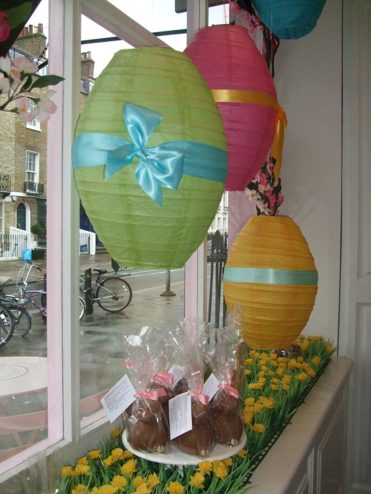 Peggy Porschen's Easter window display I like the 'grass' on the shelf. Maybe that will help it pop?
