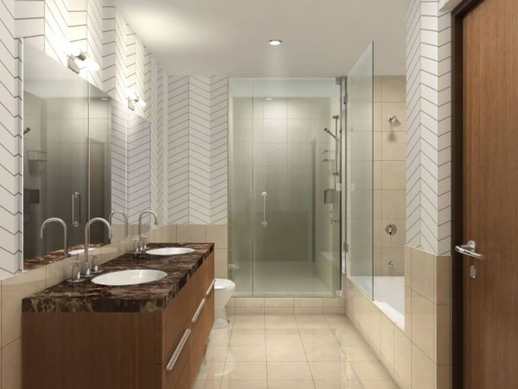 Ein seltsam schönen braunen Marmor Arbeitsplatte geräuchert mit weißen Streifen setzt auf eine einfache braune Holz Eitelkeit.