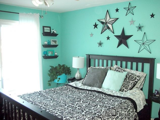 Teal, black, and white bedroom -- for Molly if we get that house with the black and white wallpaper from the 60's.
