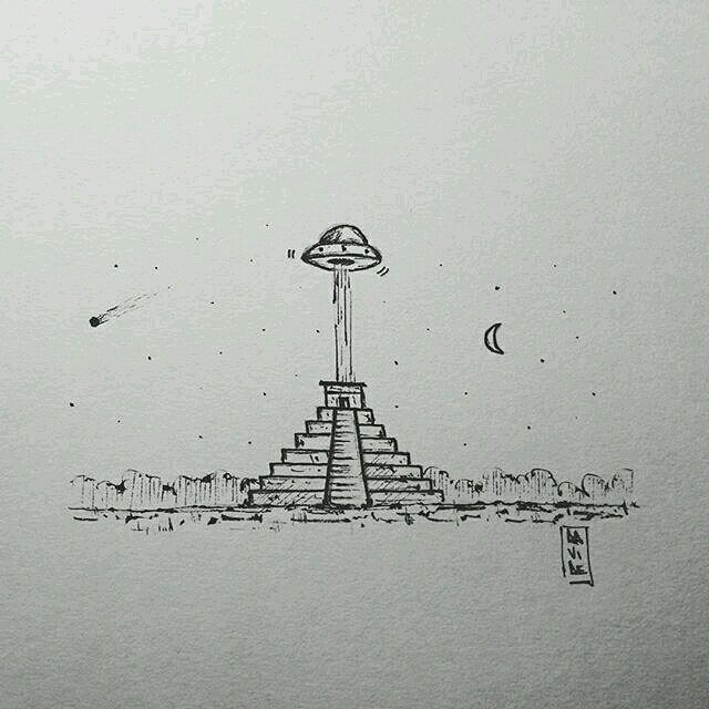 What a cool little #penandink #drawing by @gon_48 of what looks to be a #UFO of visiting a #Mayan #pyramid. I like when artists create simple drawings that seem to tell a #story all on their own or maybe just the beginning of one? I wonder if that beam coming out of the bottom of the #spaceship is dropping off or picking up... Anyway great work! #ScifiAirship #ArchitectureAirship