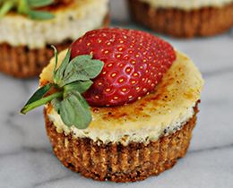 Gluten Free Banana Mini Cheesecakes with Caramelised Sugar Topping
