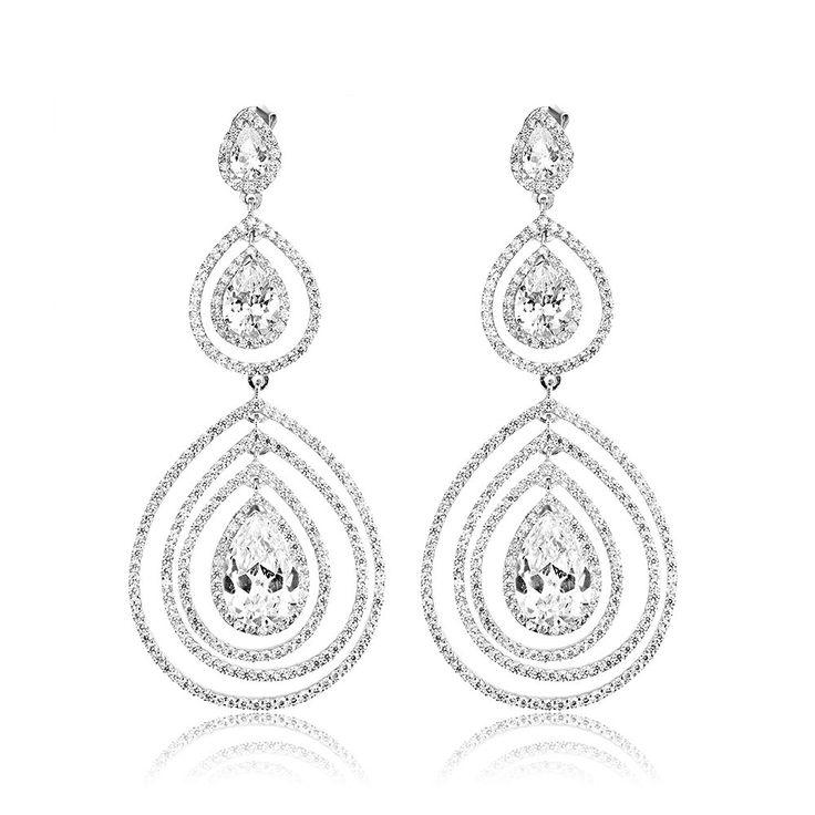 Cercei argint Surub Drop Earrings Zirconii Cod TRSE094