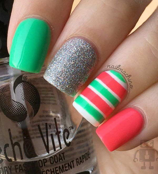 Glitter-y Multicolored Nail Art Design. These multicolored nails are definitely going to be on my list to try next.