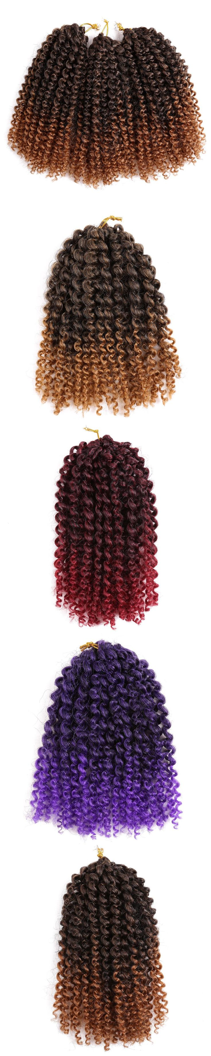 8inch Crochet Curly Braids Heat Resistatnt Synthetic Hair Extensions Ombre Crochet Twist Hair 3pcs/pack Golden Beauty