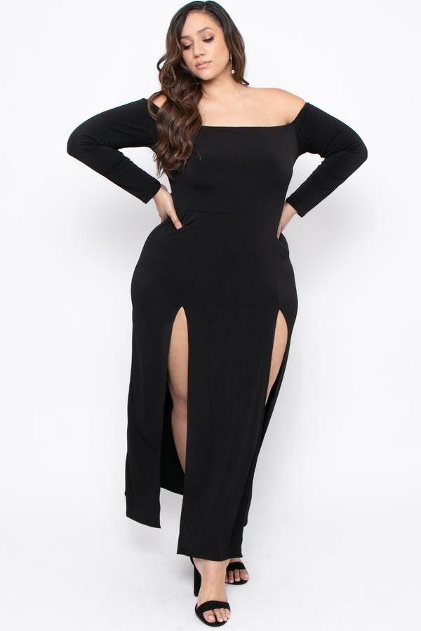abad73b03 PLUS SIZE MILEENA M-SLIT DRESS - BLACK  32.00  fashion  ootd  outfit   oufits  moda  plussize  dress  dresses  plussizeclothing  plussizedress   curve  curvy ...