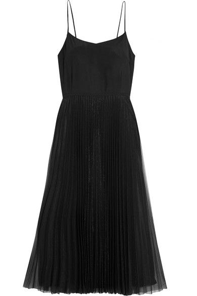 Victoria, Victoria Beckham - Silk-satin And Pleated Tulle Dress - Black - UK