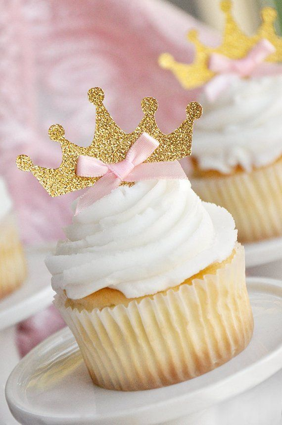 Tiara Cupcake Toppers 12CT. Pink and Gold Birthday Party Decorations