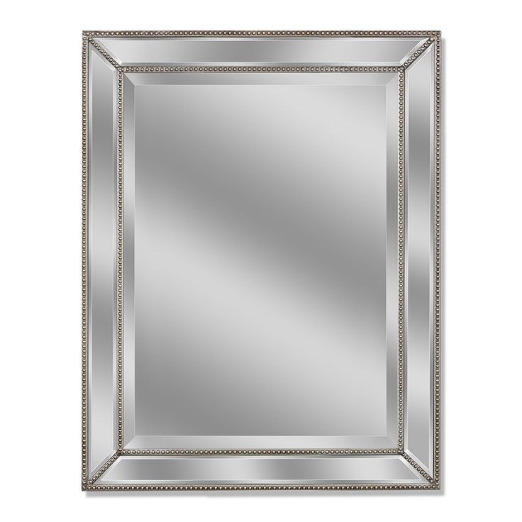 allen + roth 30in x 40in Silver Beveled Rectangle Framed