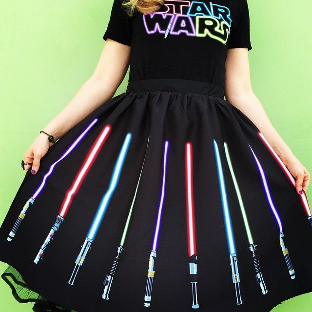 Her Universe Official Fan Page has previewed a new t-shirt and lightsaber skirt coming soon - http://thekesselrunway.dr-maul.com/2015/03/18/new-previews-from-her-universe/