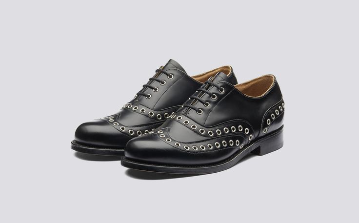 Amy | Womens Oxford Brogue in Black Hi Shine Leather with Silver Eyelet Detail on a Leather Sole | Grenson Shoes - Three Quarter View