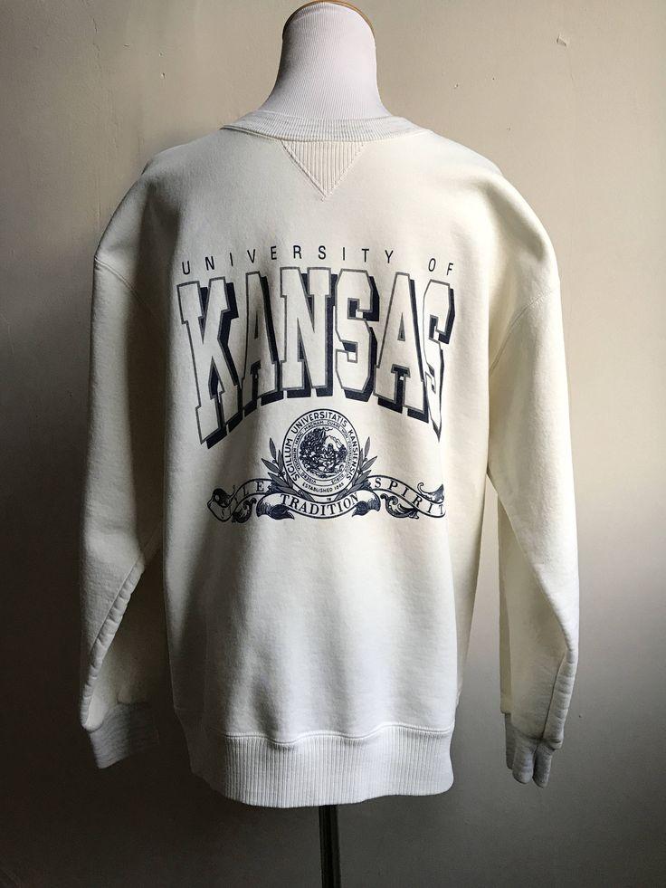 Vintage Overiszed Sweatshirt   University of Kansas Sweatshirt   Retro KU Sweatshirt Official KU Gear   Throwback Kansas Campus Sweatshirt by VintageBobbieMaude on Etsy