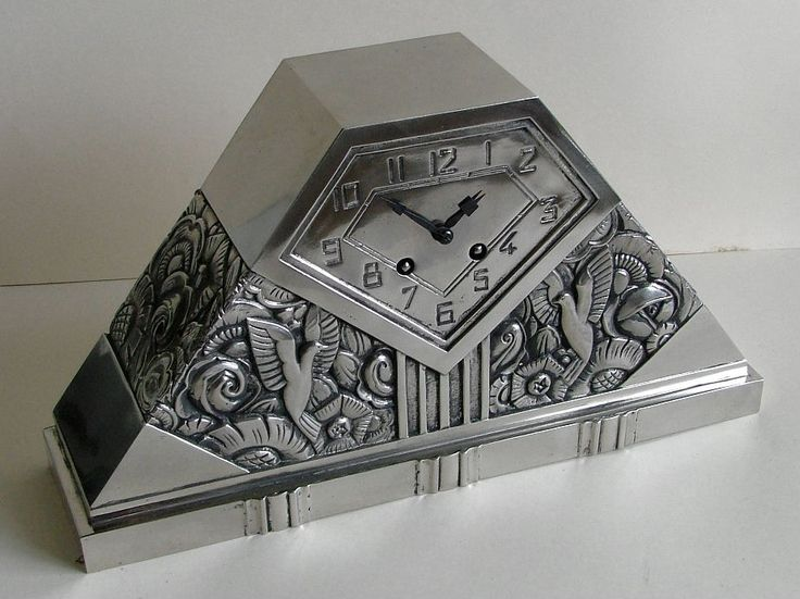 French clock silver on bronze by C. Terras - Clocks