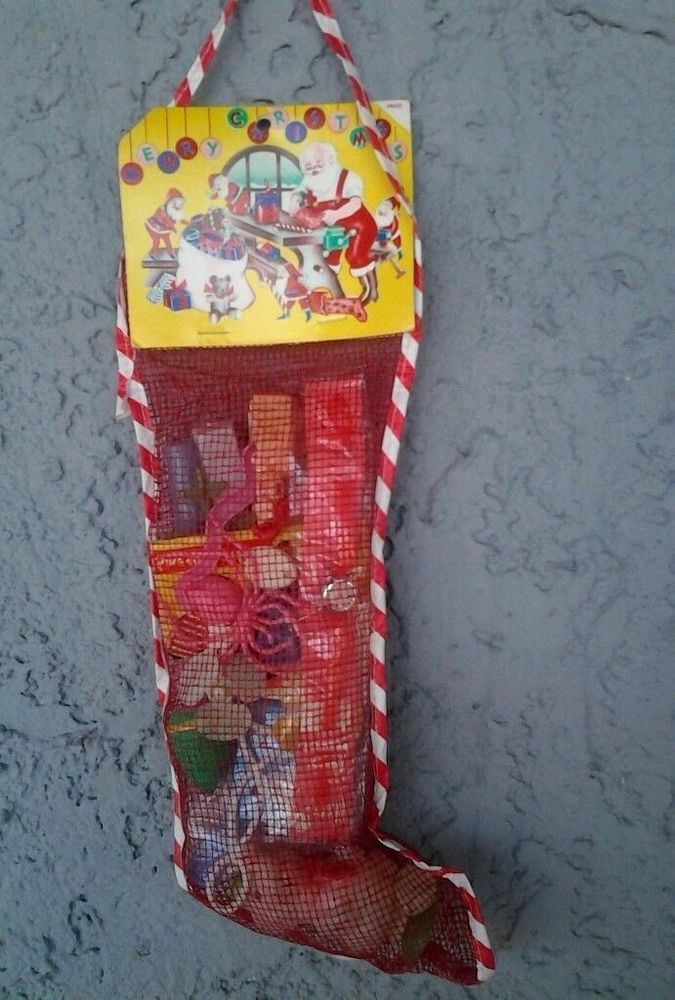 Vintage Old Mesh Christmas Stocking Plastic Toys Unopened A Store Bought Stocking Pinterest